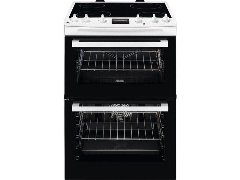 Zanussi ZCV66078WA 60cm Electric Double Oven with Ceramic Hob - White - A/A Rated