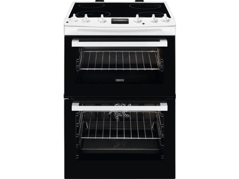 Zanussi ZCV66370WA 60cm Electric Double Oven with Ceramic Hob - White - A/A Rated